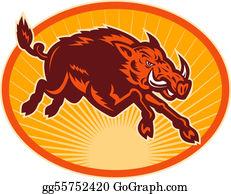 Boar - Charging Attacking Razorback Wild Boar Or Pig Set Inside An Oval.