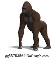 Gorilla - Gorilla On All Fours. 3d Rendering With Clipping Path And Shadow Over White