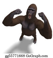 Gorilla - Gorilla Roaring. 3d Rendering With Clipping Path And Shadow Over White