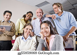 Teacher - Group Of College Students And Teacher In Class