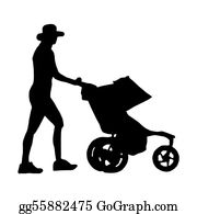 Babies-And-Toddlers-Silhouettes - Silhouette Of A Woman With A Baby Stroller