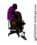 Rock-Climbing-Woman - African American Hiker Sitting On An Office Chair Silhouette