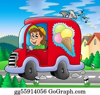 Food-Truck - Ice Cream Man Driving Red Car