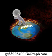Football-Abstract - Soft Toy Man Fying On A Burning Football