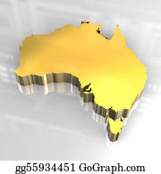 Australia - 3d Golden Map Of Australia