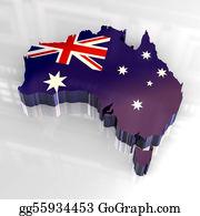 Australia - 3d Flag Map Of Australia