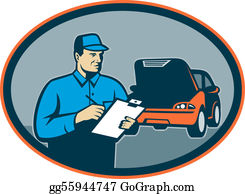 Repair - Automobile Car Repair Mechanic With Clipboard Set Inside An Oval.