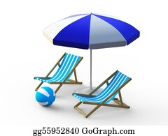 Umbrella - Beach Chair And Umbrella