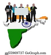 Map-Of-India - Business Team With Sign On India Map Flag Illustration
