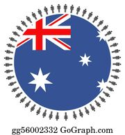 Australia - Australian Flag With People