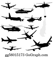 Helicopter - Helicopter And Airplane Silhouettes