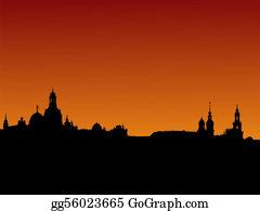Church-Building - Dresden Skyline At Sunset