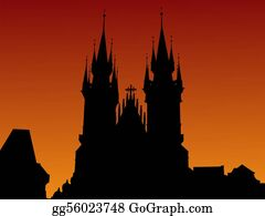 Church-Building - Tyn Church At Sunset