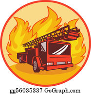 Fire-Engine - Fire Truck Or Engine With Flames In Background Set Inside A Circle.