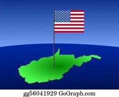 Map-Of-West-Virginia - West Virginia With Flag