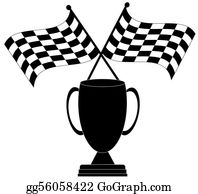 Street-Race - Two Crossed Checkered Flags With Trophy