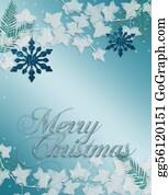 Merry-Christmas-Text - Christmas Blue Snowflake Card