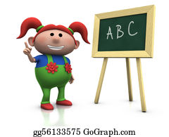 First-Day-Of-School - Red Haired Girl With Blackboard