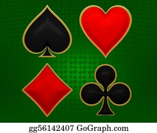 Spade - Card Suits With Golden Framing Over Green