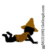 Babies-And-Toddlers-Silhouettes - African American Female Halloween Toddler Illustration Silhouette