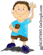 Say - Boy Say Hi Cartoon Drawing
