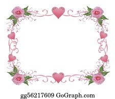 Announcement - Wedding Invitation Border Pink Rose