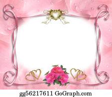 Pink-Rose - Wedding Invitation Border Pink