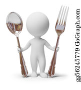 Lunch - 3d Small People - Fork And Spoon