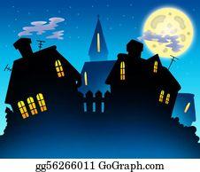 Church-Building - Village Skyline Night Silhouette