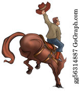 Cowboy-Boots - Bucking Rodeo Horse
