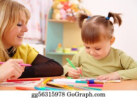 Teacher - Teacher With Child In Preschool