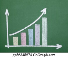 Economy - Finance Business Graph On Chalkboard Economy