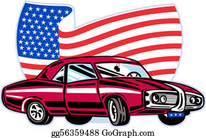 Muscle-Car - American Pontiac Muscle Car With Stars And Stripes Flag Isolated On White