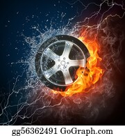 Fire-Engine - Car Wheel In Flame And Water