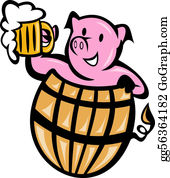 Beer - Pig Pork In Barrel With Beer Mug