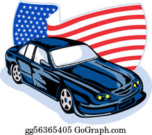 Muscle-Car - American Muscle Car Stars Stripes Flag