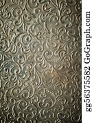 Classic-Victorian-Pattern - Vintage Hammered Metal Ornament.