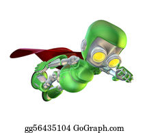 Superman - Cute Green Metal Robot Superhero Character