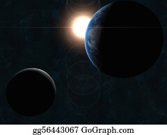 Solar-System - Earth, Moon And Sun