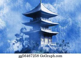 Buddhist - Buddhist Zen Temple At Misty  Night