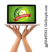 Eco-Friendly-Label - Hand Holding Laptop With Eco Friendly Sign