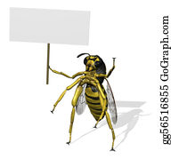 Stinging-Insect - Giant Wasp With Blank Sign