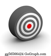 Bullseye - Black And White Target With Red Center. 3d Rendered Illustration.