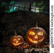 Forest - Halloween Pumpkins On Rocks  At Night