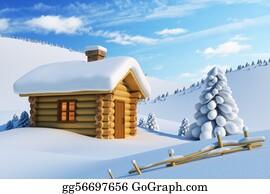 Fir-Tree - House In Snow Mountain