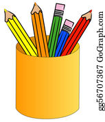 Pencil-Case - Colored Pencil Crayons Standing Up In Cup