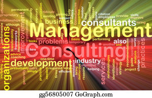 Management - Management Consulting Word Cloud Glowing