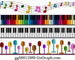 Music-Notes-On-Piano-Keyboard - Music Borders