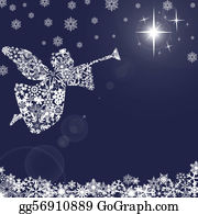 Nativity - Christmas Angel With Trumpet And Snowflakes 2