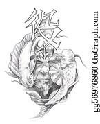 Beautiful-Unicorn - Tattoo Art, Sketch Of A Japanese Warrior